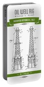1927 Oil Well Rig Patent Drawing - Retro Green Portable Battery Charger
