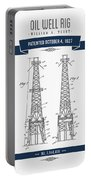 1927 Oil Well Rig Patent Drawing - Retro Navy Blue Portable Battery Charger