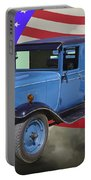 1929 Blue Chevy Truck And American Flag Portable Battery Charger