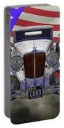 1929 Cord 6-29 Cabriolet Antique Car With American Flag Portable Battery Charger