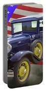 1930 Model A Ford Pickup Truck And American Flag Portable Battery Charger