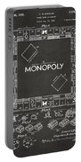 1935 Monopoly Game Board Patent Artwork - Gray Portable Battery Charger by Nikki Marie Smith