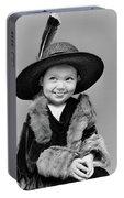 1940s Girl In Oversized Velvet Dress Portable Battery Charger