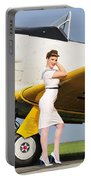 1940s Style Navy Pin-up Girl Leaning Portable Battery Charger by Christian Kieffer