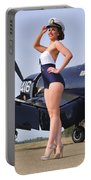 1940s Style Navy Pin-up Girl Posing Portable Battery Charger