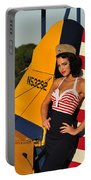 1940s Style Pin-up Girl Leaning Portable Battery Charger by Christian Kieffer