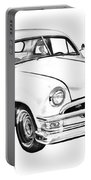 1950  Ford Custom Antique Car Illustration Portable Battery Charger