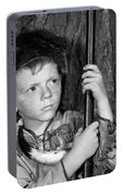 1950s Boy Wearing Raccoon Skin Hat Portable Battery Charger