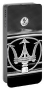 1954 Maserati A6 Gcs Grille Emblem -0259bw Portable Battery Charger