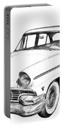 1956 Ford Custom Line Antique Car Illustration Portable Battery Charger