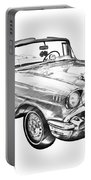 1957 Chevrolet Bel Air Convertible Illustration Portable Battery Charger
