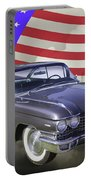 1960 Cadillac Luxury Car And American Flag Portable Battery Charger