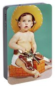 1960s Baby Wearing Cowboy Hat Portable Battery Charger