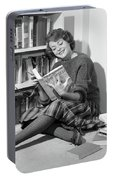 1960s Smiling Young Woman Teen Sitting Portable Battery Charger