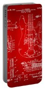 1961 Fender Guitar Patent Artwork - Red Portable Battery Charger