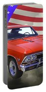 1966 Chevy Chevelle Ss 396 And United States Flag Portable Battery Charger