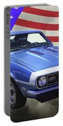 1968 Chevrolet Camaro 327 And United States Flag Portable Battery Charger