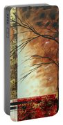 Abstract Gold Textured Landscape Painting By Madart Portable Battery Charger