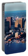 Aerial Morning View Of Boston Skyline Portable Battery Charger