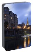 Bath City Spa Viewed Over The River Avon At Night Portable Battery Charger