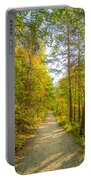Beautiful Autumn Forest Mountain Stair Path At Sunset Portable Battery Charger