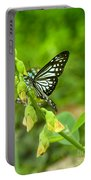 Blue Butterflies In The Green Garden Portable Battery Charger