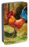 Blue-tailed Rooster Portable Battery Charger by Diane Kraudelt