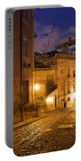 Calcada Da Gloria Street At Night In Lisbon Portable Battery Charger