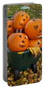 Carved Pumpkins In A Wheelbarrow Portable Battery Charger