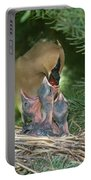 Cedar Waxwings Portable Battery Charger by Linda Freshwaters Arndt