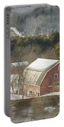 Country Road And Barn In Winter Maine Portable Battery Charger