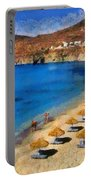 Elia Beach In Mykonos Island Portable Battery Charger