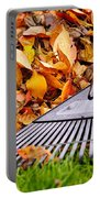 Fall Leaves With Rake Portable Battery Charger by Elena Elisseeva