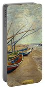 Fishing Boats On The Beach Portable Battery Charger