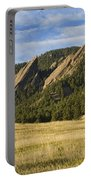 Flatirons With Golden Grass Boulder Colorado Portable Battery Charger