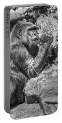 Gorilla Eats Black And White Portable Battery Charger