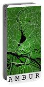 Hamburg Street Map - Hamburg Germany Road Map Art On Colored Bac Portable Battery Charger
