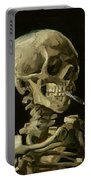 Head Of A Skeleton With A Burning Cigarette Portable Battery Charger