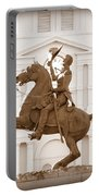 Jackson Square Statue In Sepia Portable Battery Charger