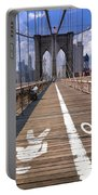 Lanes For Pedestrian And Bicycle Traffic On The Brooklyn Bridge Portable Battery Charger