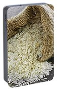 Long Grain Rice In Burlap Sack Portable Battery Charger