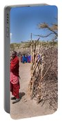 Maasai People And Their Village In Tanzania Portable Battery Charger