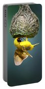 Masked Weaver At Nest Portable Battery Charger