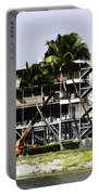 Oil Painting - Using A Crane To Help In The Preparation For The Formula One Race Portable Battery Charger