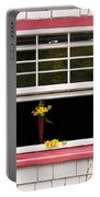Open Window With Yellow Flower In Vase Portable Battery Charger