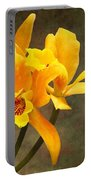 Orange Spotted Lip Cattleya Orchid Portable Battery Charger by Rudy Umans