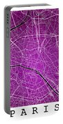 Paris Street Map - Paris France Road Map Art On Colored Backgrou Portable Battery Charger