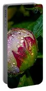 Peony With Rain Drops Portable Battery Charger