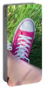 Pink Sneakers On Girl Legs On Grass Portable Battery Charger