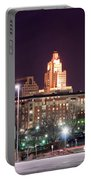 Providence Rhode Island Skyline At Night Portable Battery Charger